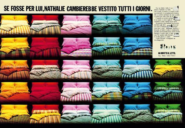 Рекламный разворот 1979 года, призванный демонстрировать колористическое разнообразие обивок и постельного белья кровати Nathalie.