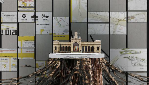 """Второй зал, """"Архитектурное депо"""": в нем представлены планы и модели вокзалов прошлого и настоящего, на фото модель Павловского вокзала."""