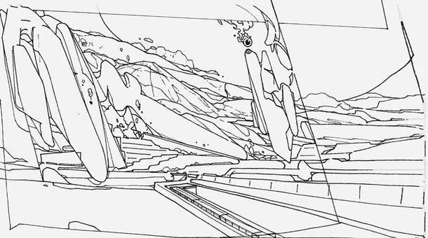 """Эскизы граффити-художника Анатолия Акуе для третьего зала, который называется """"Зал ожидания будущего"""", — в нем показаны варианты обустройства территории вокруг вокзала."""