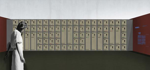 """Четвертый зал, """"Крипта памяти"""": проект """"Камера хранения"""", визуализация Алексея Подкидышева."""