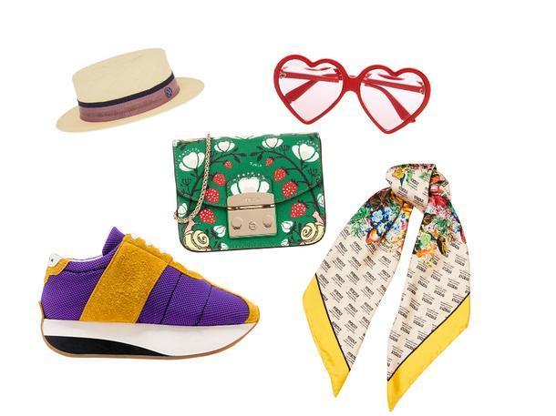 Шляпа, Maison Michel; очки и платок, Gucci; кроссовки, Marni; сумка, Furla.
