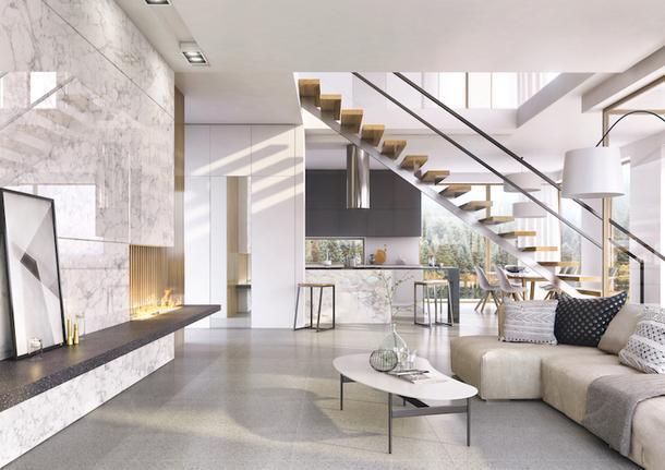 Пример оформления кухни с использованием фасадов из коллекции Crystal.