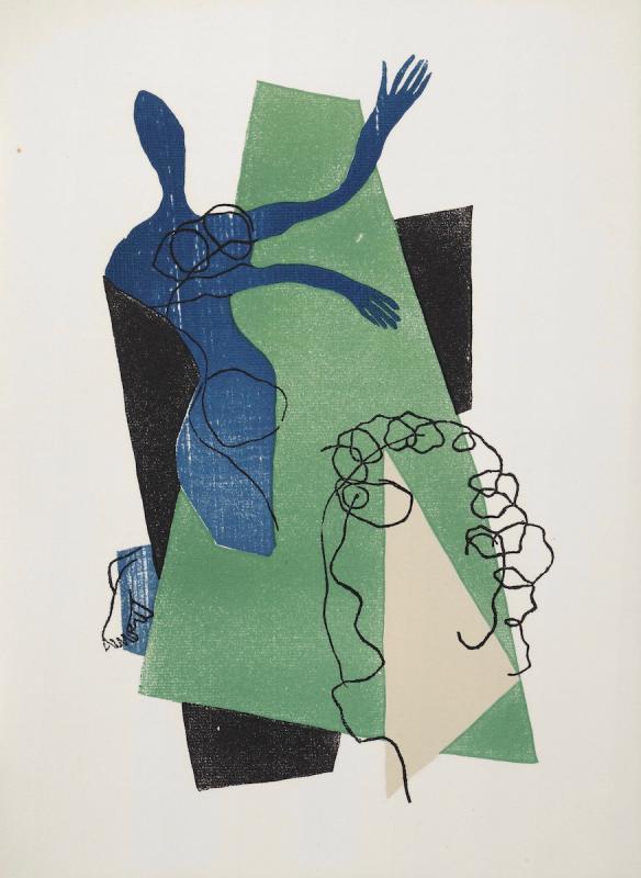 Анри Лоранс. Цветная ксилография, 38,5х28 см. Иллюстрация к изданию. Лукиан Самосатский. Диалоги. Париж, 1951