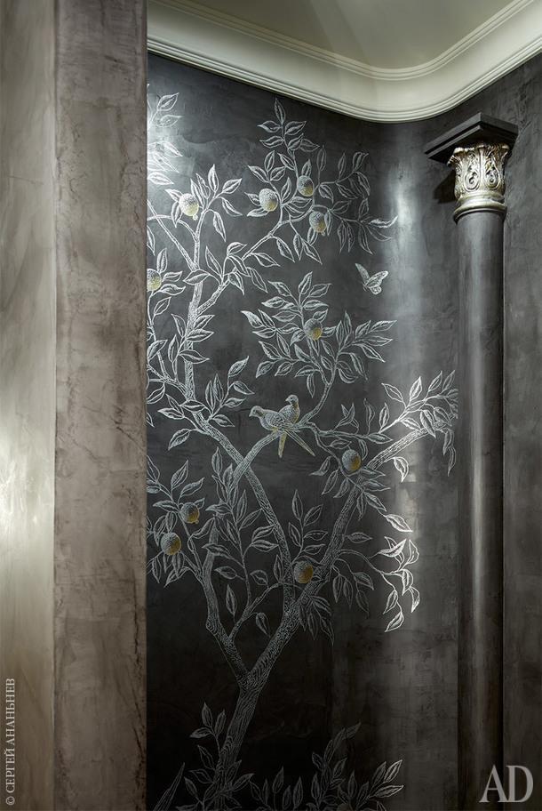 Гостевой туалет. Декоративное покрытие, Baldini; ручная роспись, Алена Вилюкова.