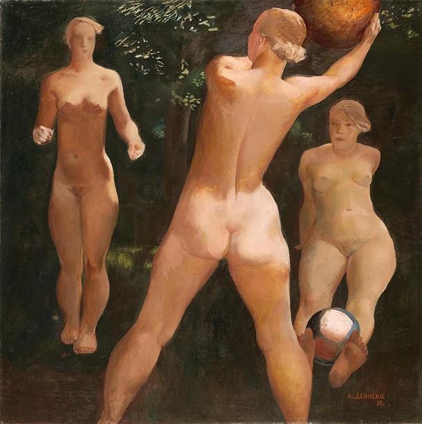 """А. А. Дейнека. """"Игра в мяч"""", холст, масло. 1932."""