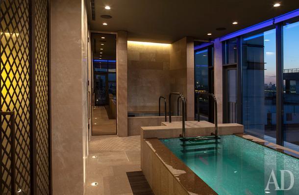 Перегородка и лестницы для бассейна Commonlamp; светильники, Modular; зеркальные двери,