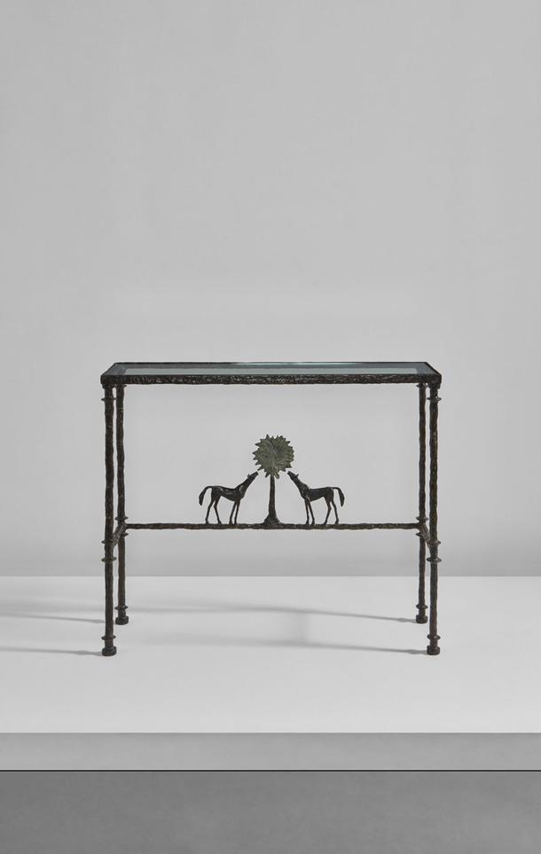 Diego Giacometti, Rare Console Table, Deux Chevaux Autour d'un Arbre.