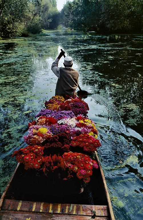 Стив Маккарри. Продавец цветов на озере Дал. Сринагар, Джамму и Кашмир, Индия, 1996.