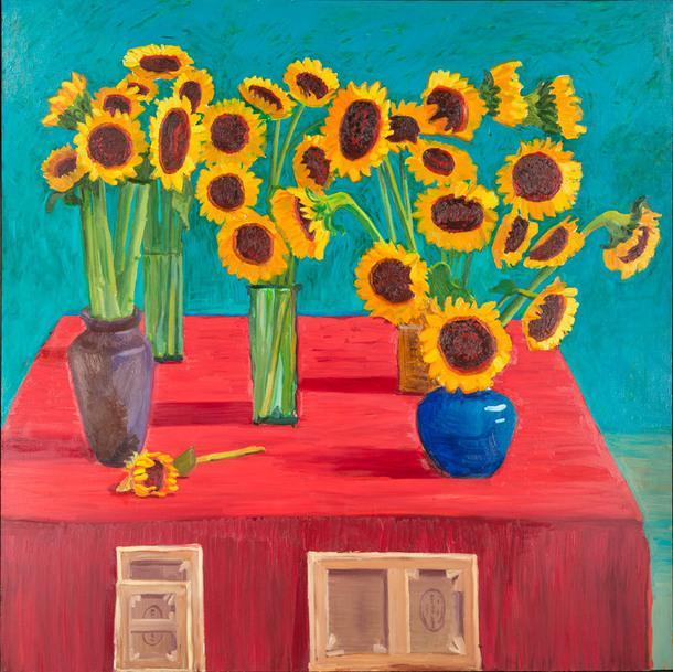 """Дэвид Хокни """"30 подсолнухов"""", 1996. Масло, холст. Коллекция V-A-C."""