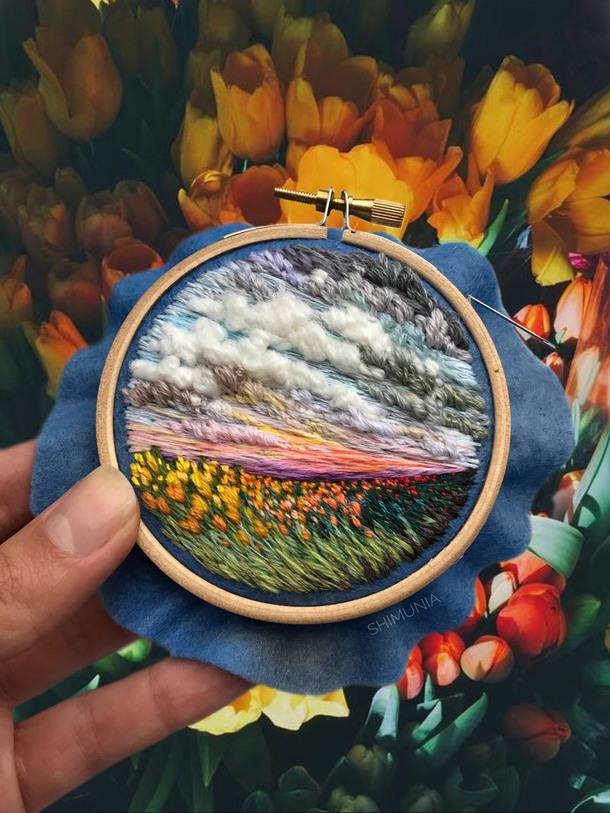Живописные пейзажи на вышивках Веры Шимуния